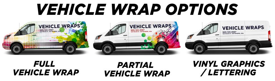 full, partial, vinyl graphic vehicle wrap options